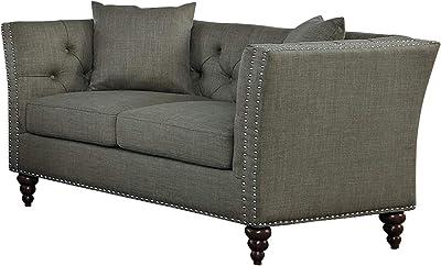 Manhart Button Tufted Love Seat in Dark Gray Fabric