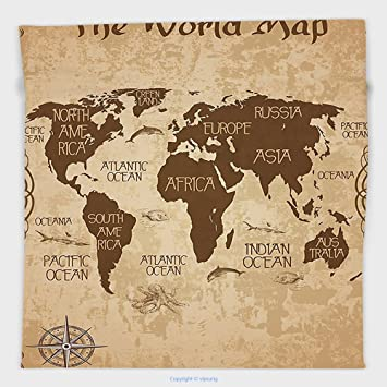 Amazon vipsung microfiber ultra soft hand towel map decorative vipsung microfiber ultra soft hand towel map decorative world map decor ideas oceans continents compass gumiabroncs Images