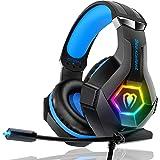 Gaming Headset PS4 Headset Pro 7.1 Surround Sound Noise Canceling Flexible Mic with 2pcs Mic Cover RGB LED Light Memory Earmu
