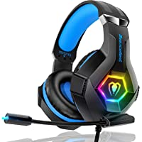 Gaming Headset PS4 Headset Pro 7.1 Surround Sound Noise Canceling Flexible Mic with 2pcs Mic Cover RGB LED Light Memory…