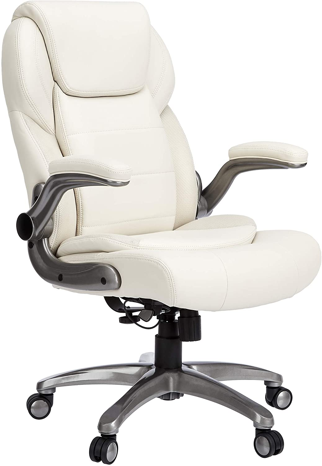 AmazonCommercial Ergonomic High-Back Leather Executive Chair with Flip-Up Arms and Lumbar Support, Cream