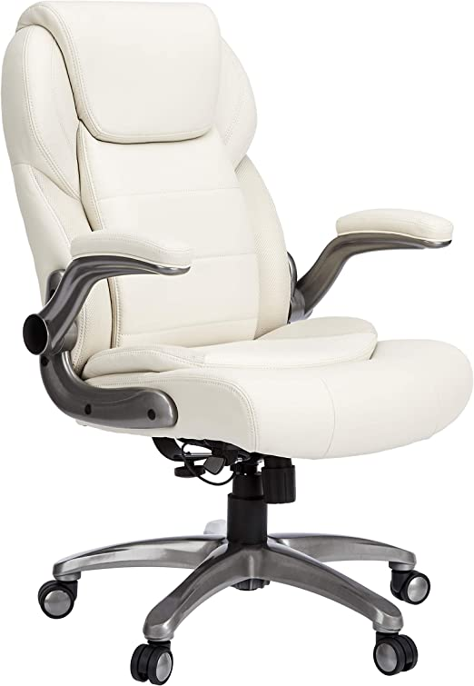 Amazon Com Amazoncommercial Ergonomic High Back Bonded Leather Executive Chair With Flip Up Arms And Lumbar Support Cream Furniture Decor
