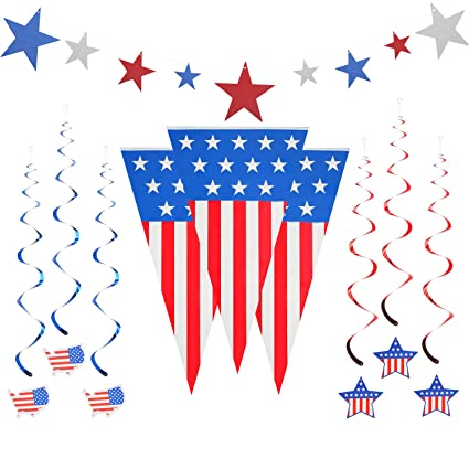 Bumbumbee 4th Of July Patriotic Decorations Patriotic 24 Feet Outdoor Indoor Party Supply Decor Independence Day Decorations Foil Streamers Star