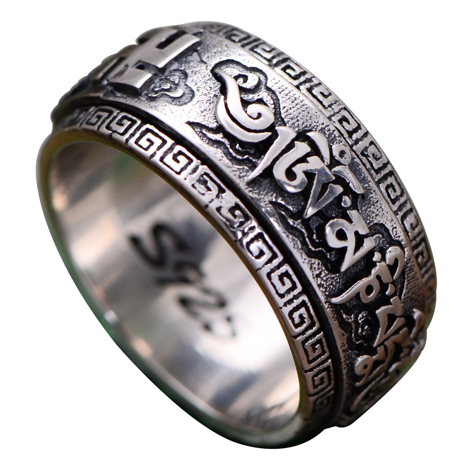 FORFOX Vintage 925 Sterling Silver Buddhism Om Mani Padme Hum Spinner Ring Engraved Swastika 10.5