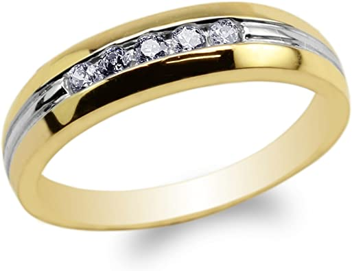 JamesJenny Ladies 10K14K Yellow Gold Stylish Solid Band Ring with Round CZ Size 4