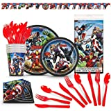 Avengers Birthday Party Supplies - Avenger Themed Kit, Includes 78 Premium Pieces With Extra Cutlery - Superhero Party…