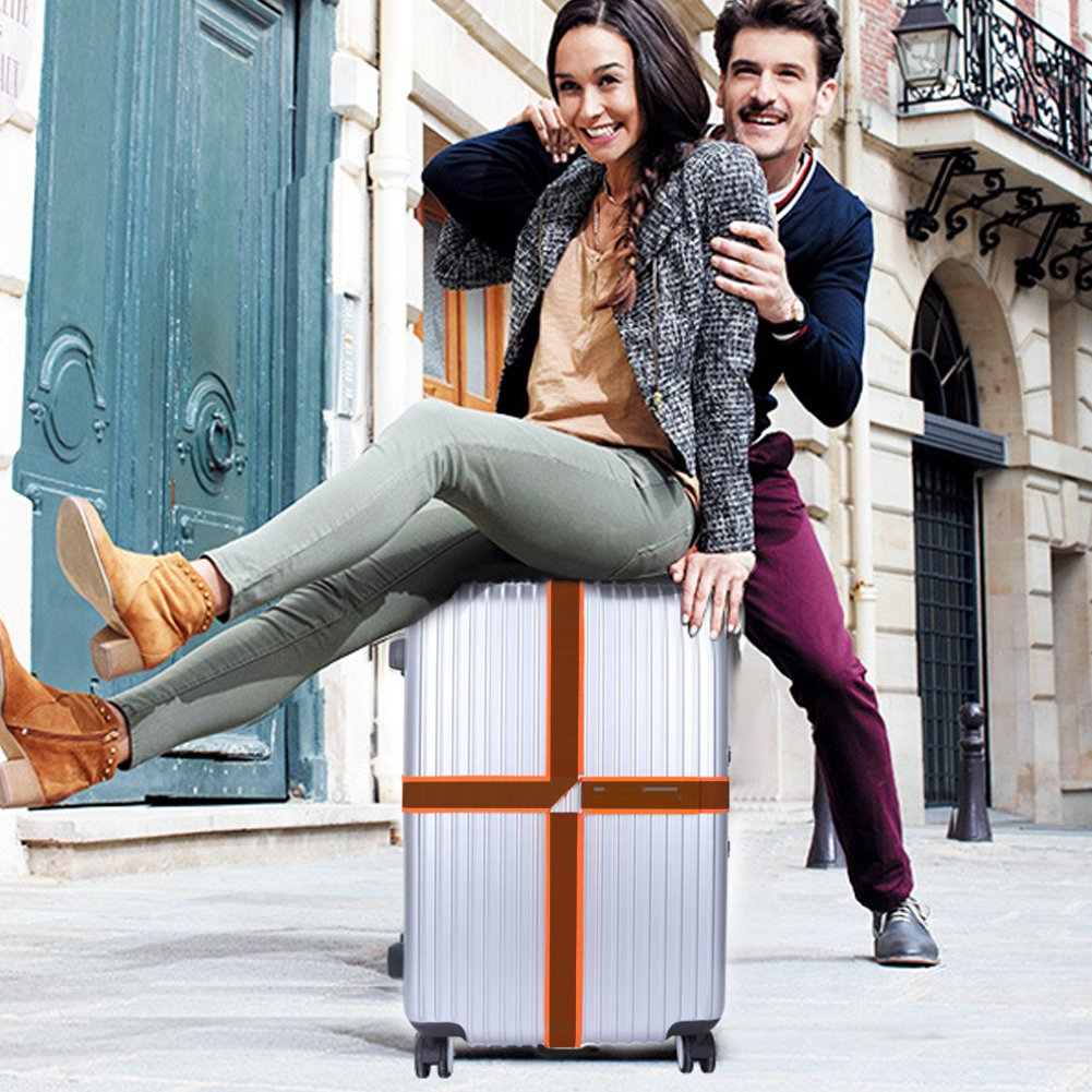 Orange Adjustable Straps Best Belt Suitcase Travel Belt to Keep Your Bags Secure and Spot Your Suitcase Yemii Travel Luggage Strap