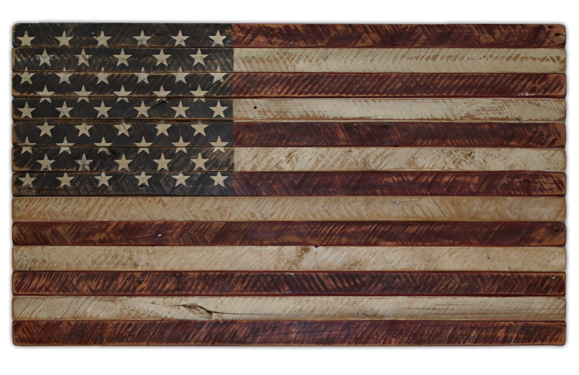 American Echoes Vintage United States Flag Wall Art Authentic 13 Stripes 50 Stars US - Handcrafted Patriotic Wall Décor Made in USA (42'' X 24'')