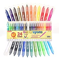 Shuttle Art 24 Colors Gel Crayons Set for Paper Glass and Mirrors