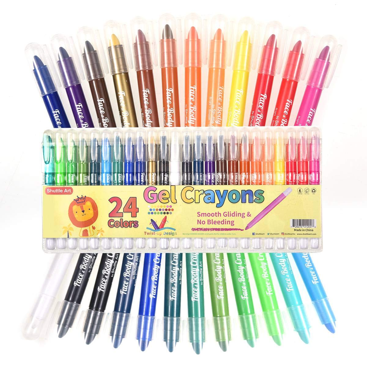 Shuttle Art 24 Colors Gel Crayons, Washable Twistable Non-Toxic Gel Crayons Set for Toddlers Kids and Students, Ideal for Paper Glass and Mirrors by Shuttle Art