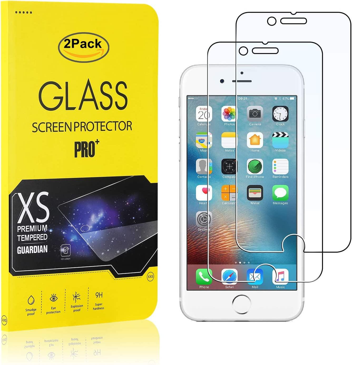 NBKASE Protector de Pantalla Cristal Templado Premium para Apple iPhone 7 // iPhone 8, 9H Dureza 2 Piezas Alta Definicion Protector de Pantalla para iPhone 7 // iPhone 8