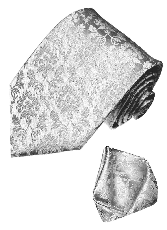 LORENZO CANA Luxury Italian 100% Silk Tie Set With Hanky Wedding Silver 84328
