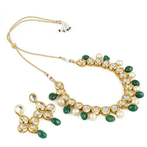 d593a1c28f747 Aradhya Stylish Kundan With Green Stone And Shining Beige Pearl Necklace  Set With Earrings For Women And Girls