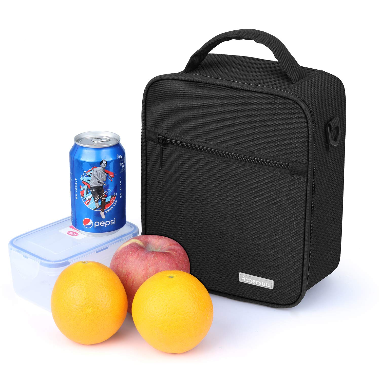 Lunch Bag with Firm Foil-BPA FREE, Amersun Original Reusable Insulated Lunch Box School Cooler Picnic Holder with Shoulder Strap for Kids Boys Men Women Girls,Spill-resistant & 2 Pockets (Black) by Amersun (Image #5)