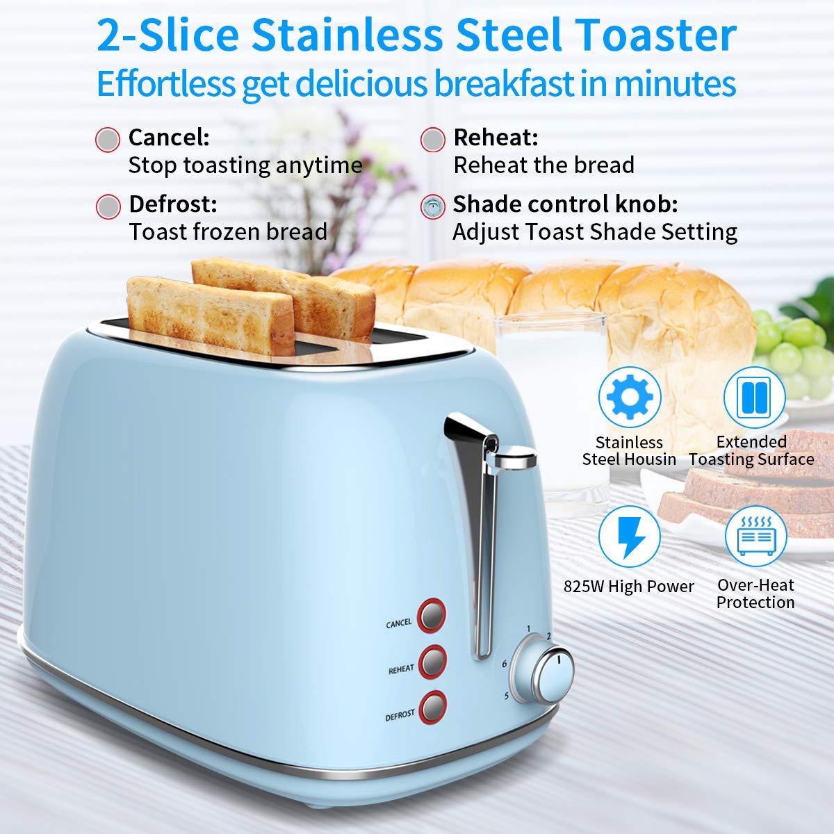 Grille-Pain Automatique,morpilot Grille Pain Inox avec 2 Fentes Extra Larges - Toaster Pain avec Décongeler Réchauffer et Annuler + 6 Niveaux de Brunissage Réglable + Tiroir de Miettes Amovible