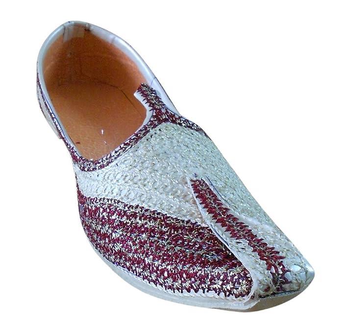 Indian Wedding Men Shoes Embroidered Mojari Handmade Jooti Khussa Flat