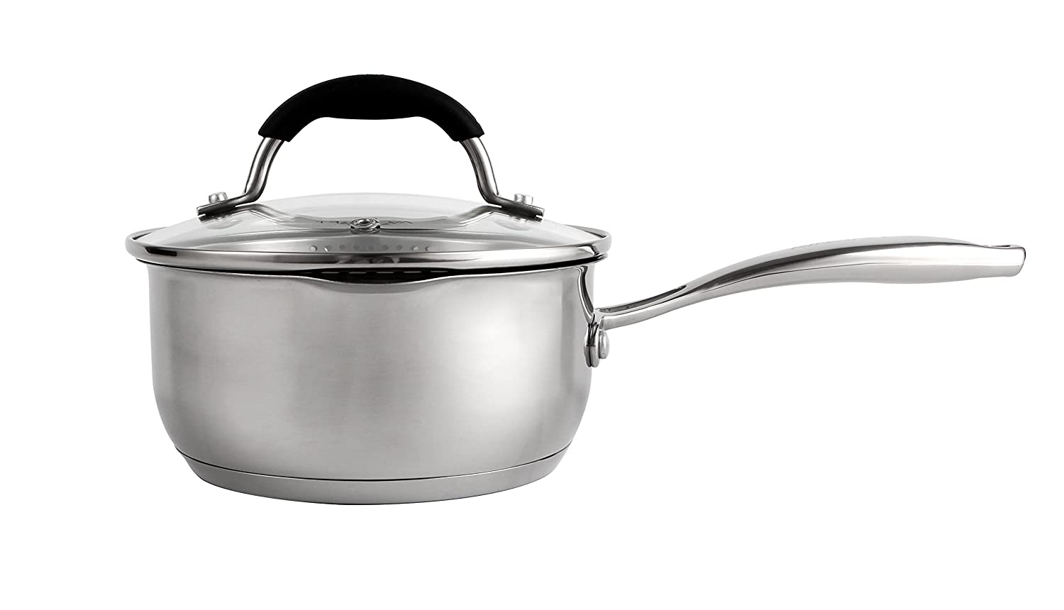 AVACRAFT Stainless Steel Saucepan with Glass Lid Two Side Spouts for Easy Pour with Ergonomic Handle Strainer Lid 1.5 Quart Sauce Pot Multipurpose Sauce Pan with Lid