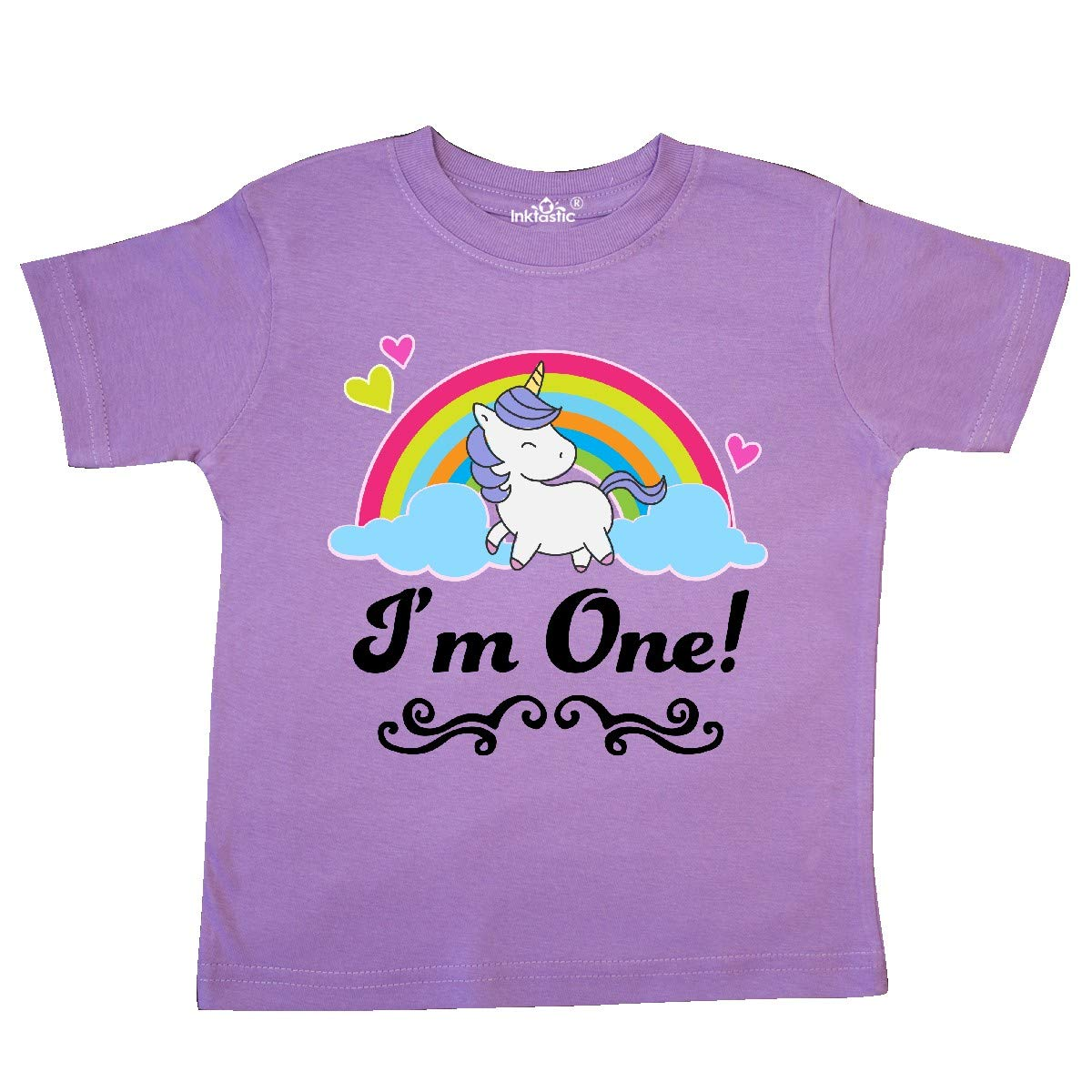 inktastic 1st Birthday Unicorn Rainbow 1 Year Old Party Toddler T-Shirt