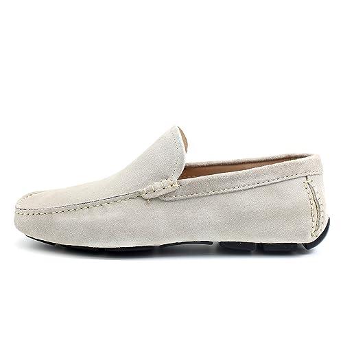 Giorgio Rea Zapatos para Hombre Car Shoes Crema Elegante Hombre Zapatos Hecho A Mano EN Italia Cuero Real Brogue Oxfords Richelieu Mocasines: Amazon.es: ...