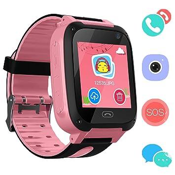 Reloj Niños Smart Watch Phone, LBS/GPS Tracker Smartwatch para Niños Niñas con Cámara SOS Ranura para Tarjeta Pantalla Táctil Reloj Childrens Gift ...