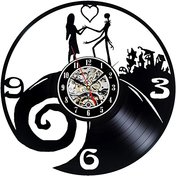 Gullei.com Nightmare Before Christmas Theme Vinyl Wall Clock for Lovers