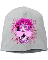 Beautiful Death Flower Skull Unisex,Women/Men Wool Hat Soft Stretch Beanies Skull Cap Black
