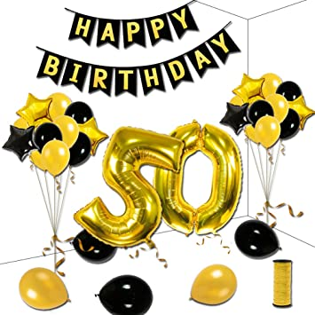50th Birthday Theme Party Decorations Kit Black Happy Banner Gold Number 50 Big