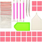 Sumind DIY Diamond Painting Tools Kits Diamond Sticky Pens Plates Clays Tweezers and Bags, 48 Pieces in Total
