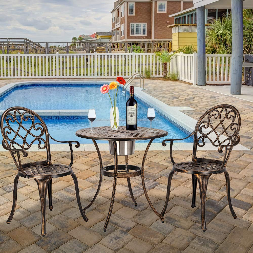 Simply-Me Bistro Table Set 3 Piece Outdoor Patio Set Cast Aluminum Bistro Table and Chair,with Ice Bucket,Antique Copper Finish,Rust-Resistant