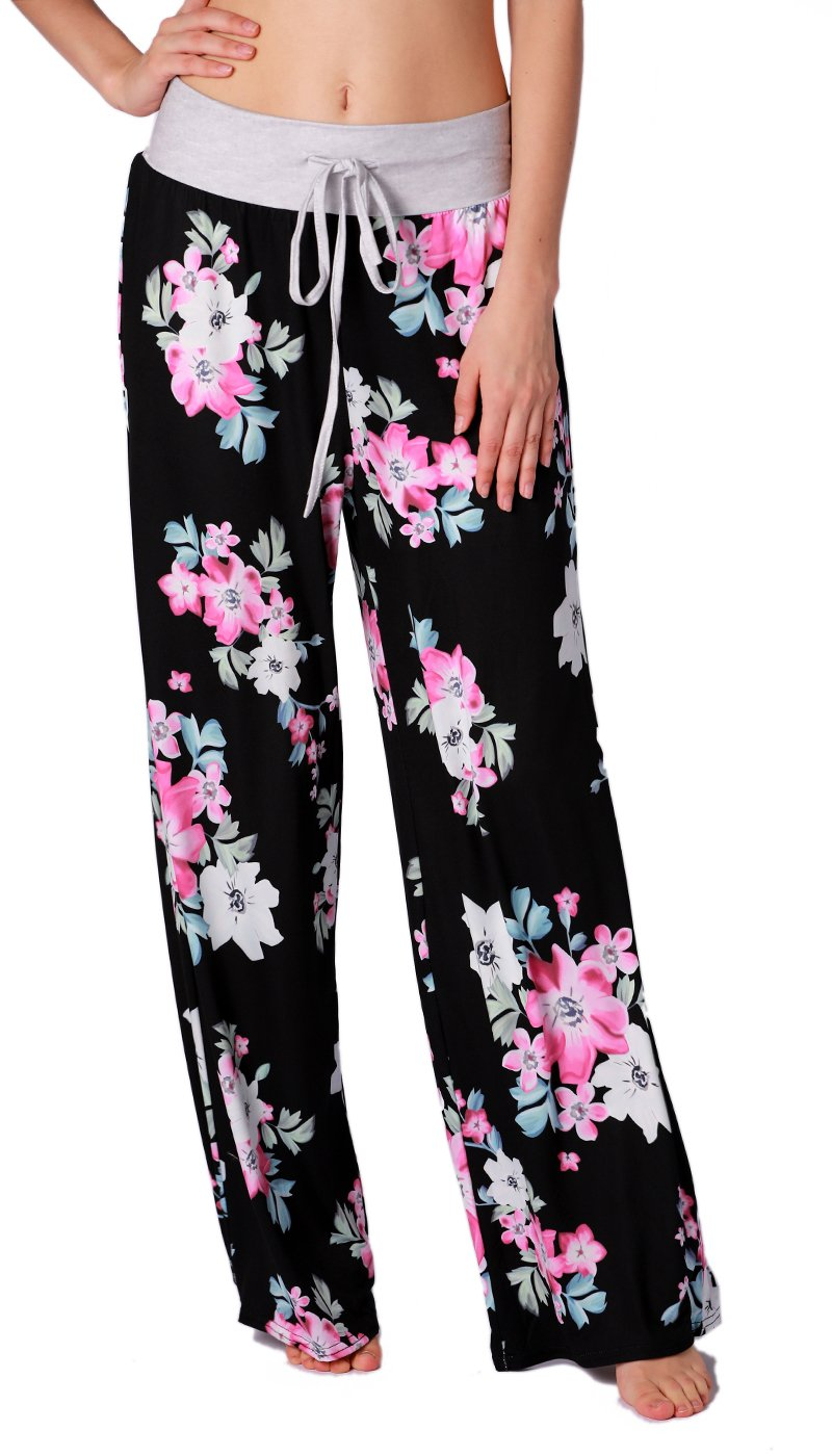 NEWCOSPLAY Women's Comfy Stretch Floral Print High Waist Drawstring Palazzo Wide Leg Pants (L, 0902balck)