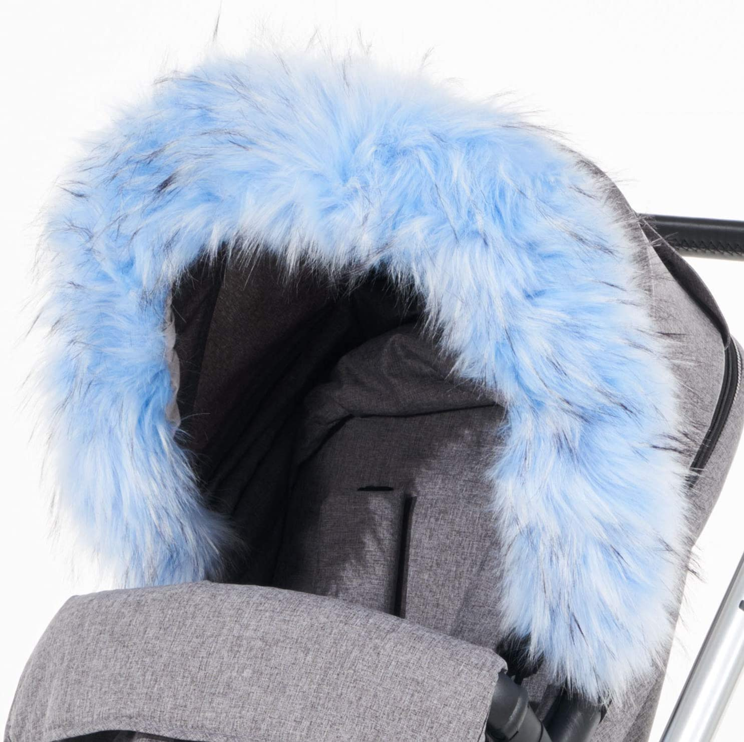 For-Your-Little-One Fur Hood Trim Pram Compatible on Chicco Black