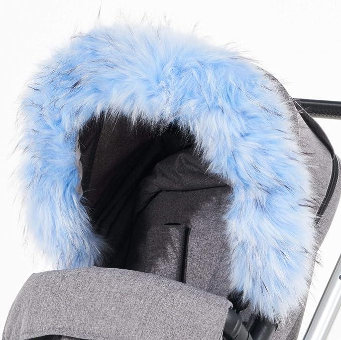 Light Grey For-Your-Little-One Fur Hood Trim Pram Compatible on Jane