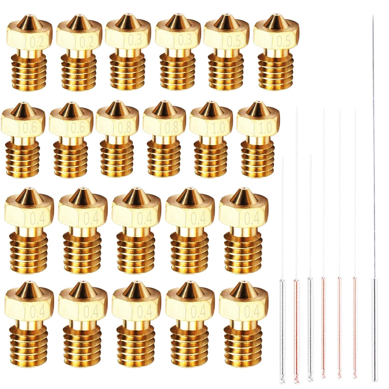 22 un. Boquilla Extrusoras, Printer 3D M6 Bronce Boquilla Ca