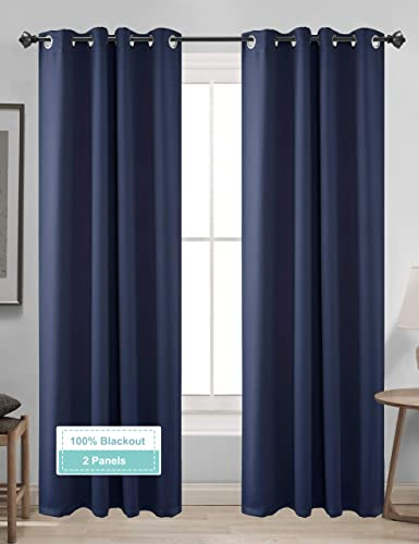 CLB 100 Blackout Curtains 2 Panels, Thermal Insulated Blackout Curtains for Bedroom, Room Darkening Curtains, Room Curtains Navy Blue Curtain, Nursery Room Curtains 38 96
