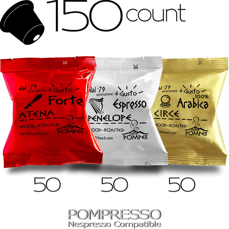 Caffe POMPEII - POMPRESSO - Nespresso Compatible Coffee Capsules for All Nespresso Original Line Machines (VARIETY 3, 150 capsules) 71IHMvmGFmL