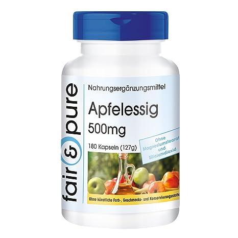 Vinagre de manzana 500 mg - 180 cápsulas veganas - con vitaminas - minerales - oligoelementos