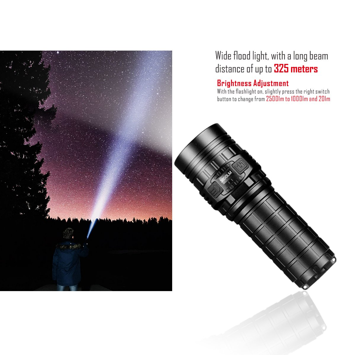 Imalent new DN70 USB rechargeable palm-sized LED flashlight 3800lumens searching light portable floody flashlight with CREE XHP70 LED by IMALENT (Image #5)
