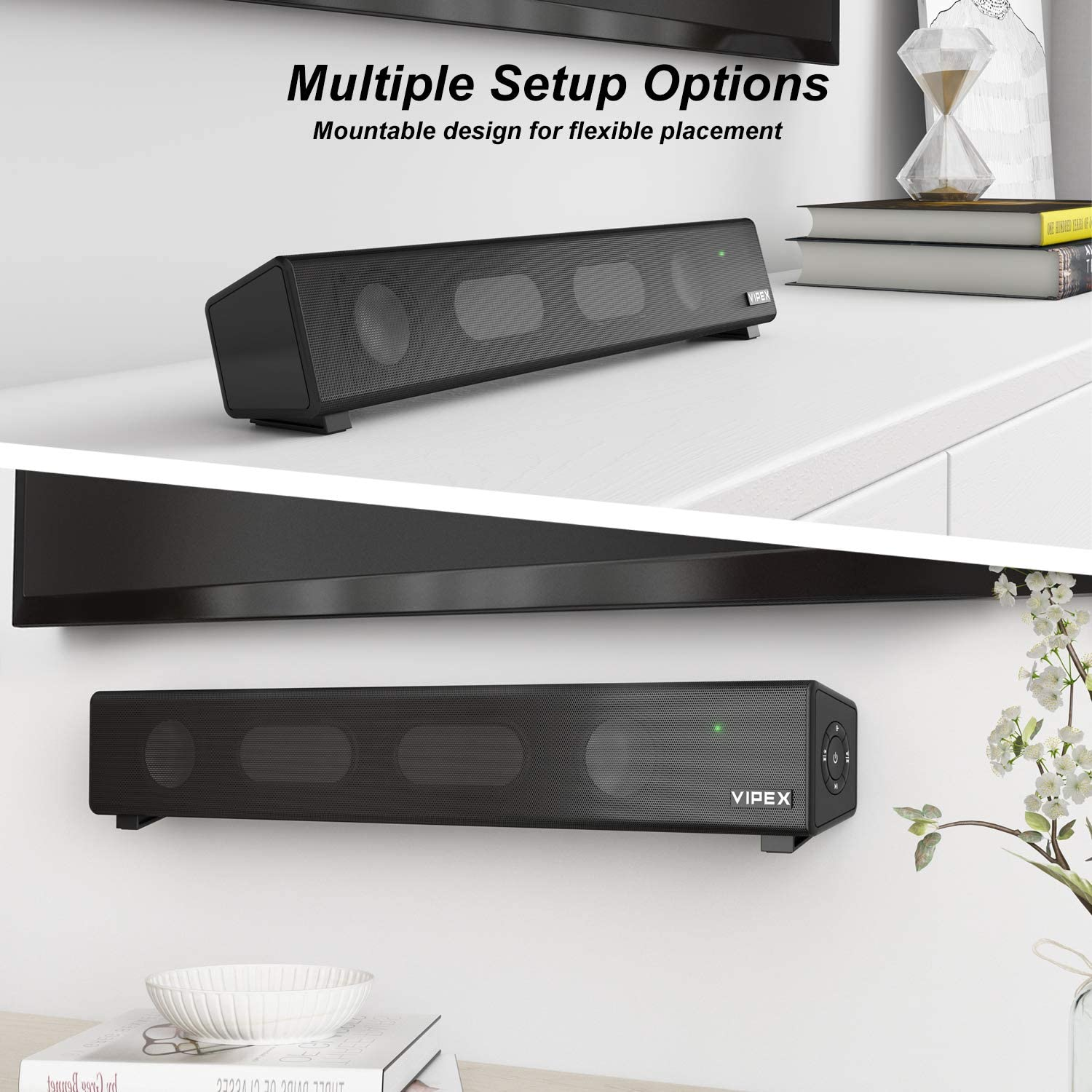 Wireless and AUX-in Connection Tablet and Laptop Computer Speakers Smartphone Powerful Deep Bass Stereo Small Soundbar Speaker for TV Wall Mountable PC Bluetooth 5.0 PC Speakers Sound Bar