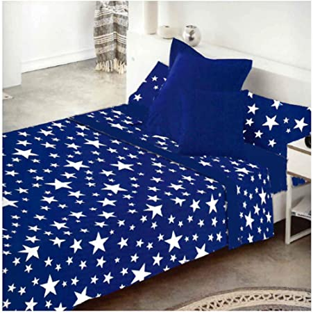 COTTON ARTean Juego de sabanas Invierno Franela 100% Algodon Modelo Cielo Azul Cama de 150 x 190/200: Amazon.es: Hogar