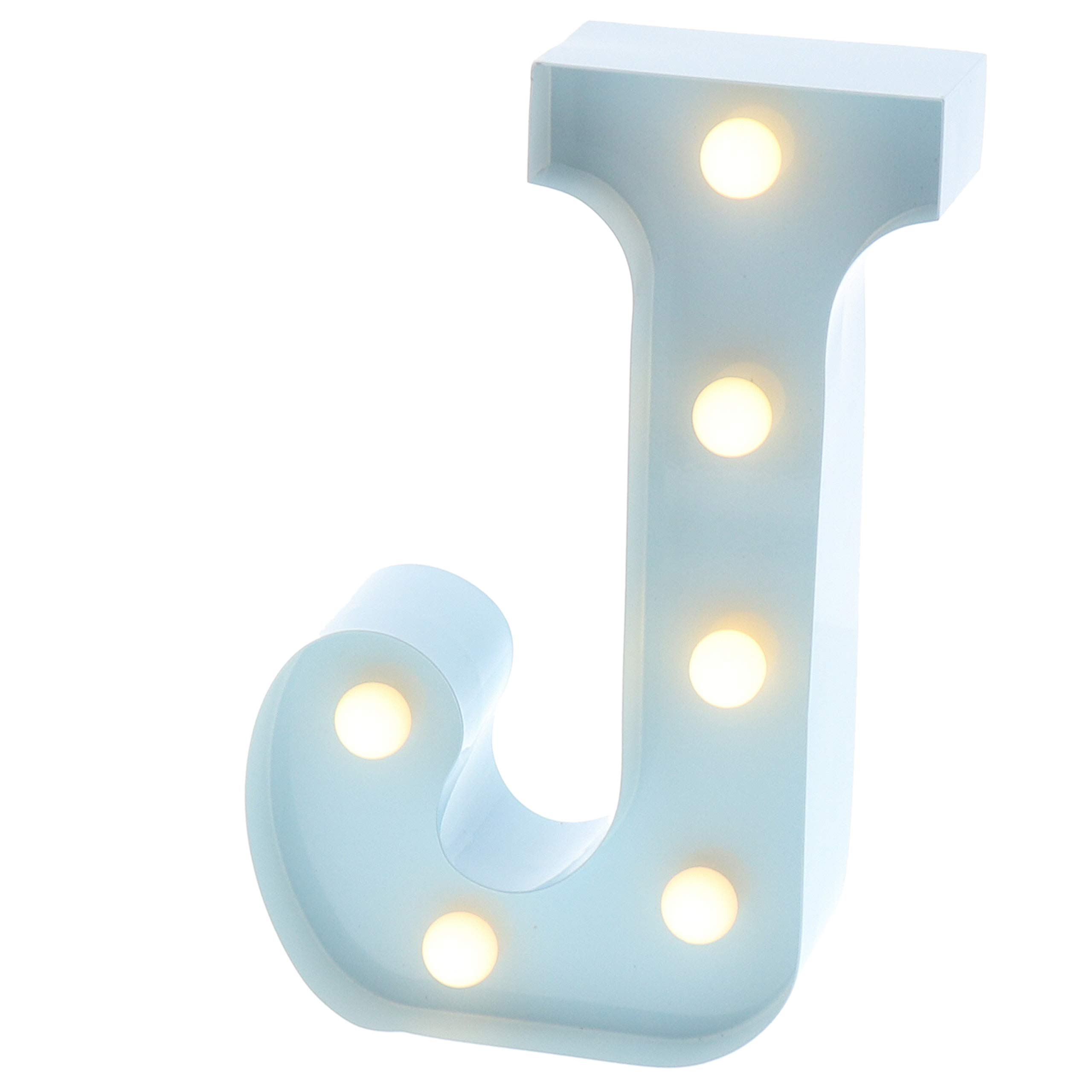 """Barnyard Designs Metal Marquee Letter Flat J Light Up Wall Initial Nursery Letter, Home and Event Decoration 9"""" (Baby Blue)"""