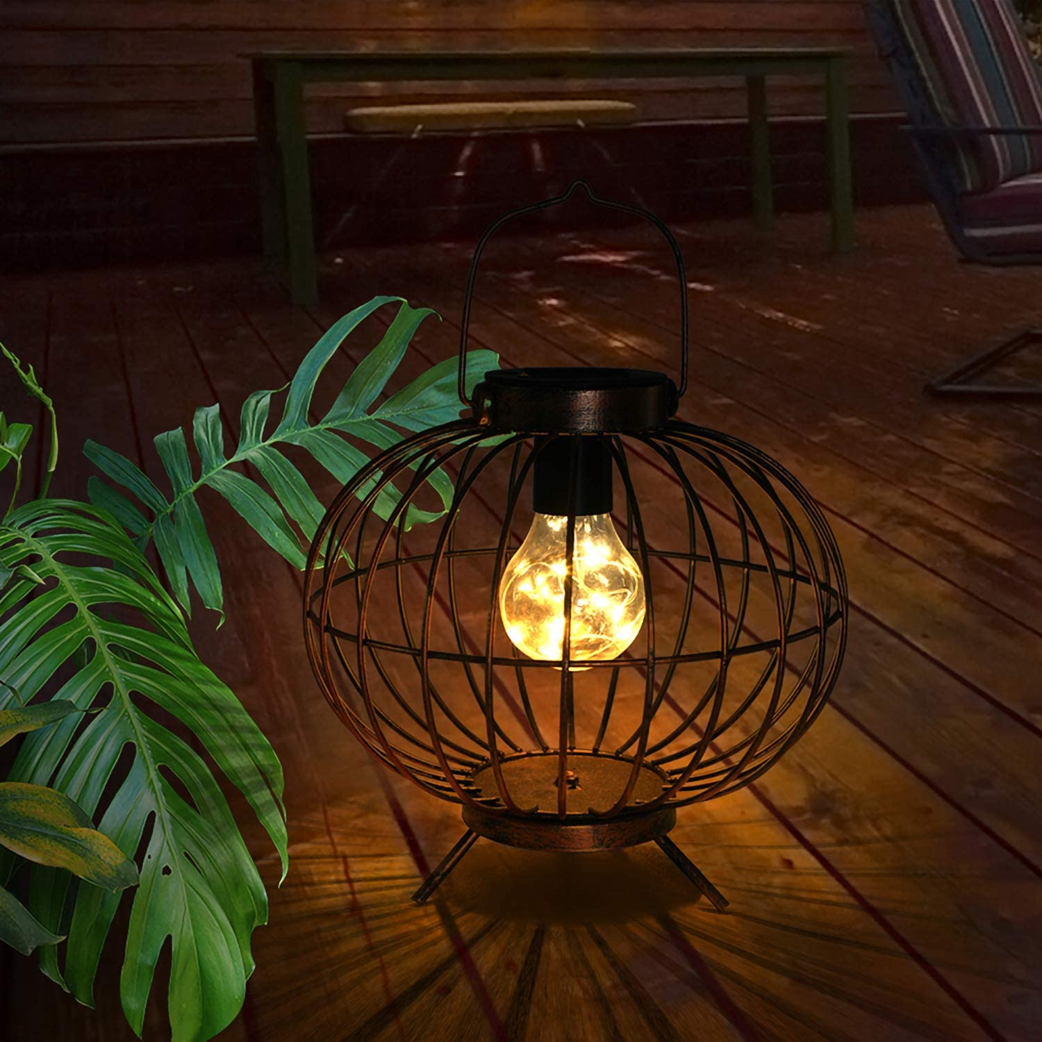 Solar Lanterns Outdoor,Hanging Solar Lights with Base Waterproof Metal Solar Table Lamp for Garden Yard Patio Pathway Decoration (Copper)