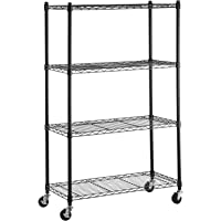 Callas 4-Tier Height Adjustable Shelving Units Storage Rack with Wheels & Leveling Feet, Black
