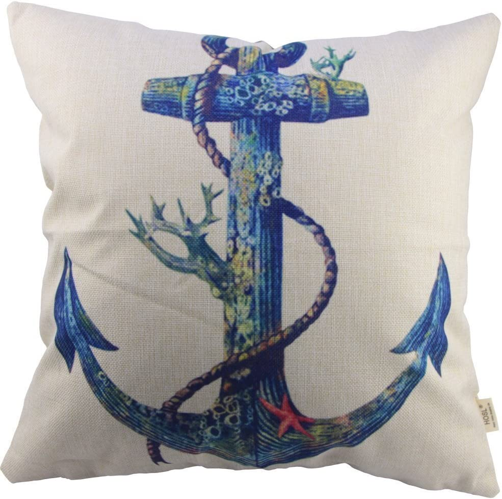 HOSL P12 Cotton Linen Square Throw Pillow Case Decorative Cushion Cover Pillowcase for Sofa Blue Rusty Anchor with Coral
