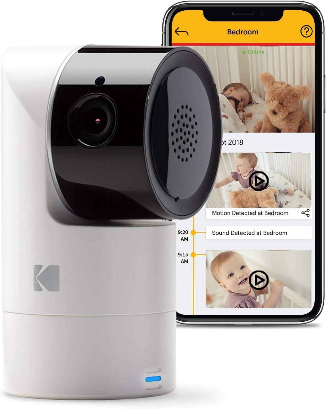 Cámara para bebés inteligente KODAK Cherish C125 con app móvil - Cámara para bebés de alta resolución con zoom remoto, audio bidireccional, visión nocturna, largo alcance