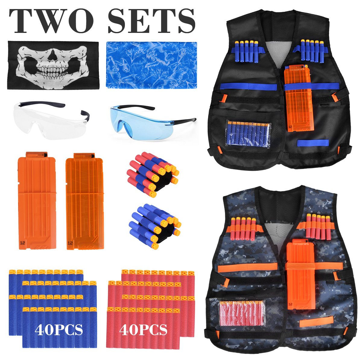 2 Pack Kids Tactical Vest Kit Compatible with Nerf Guns N-Strike Elite Series, with 80 Pcs Refill Darts, 2 Reload Clips, 2 Face Tube Masks, 2 Hand Wrist Bands and 2 Protective Glasses