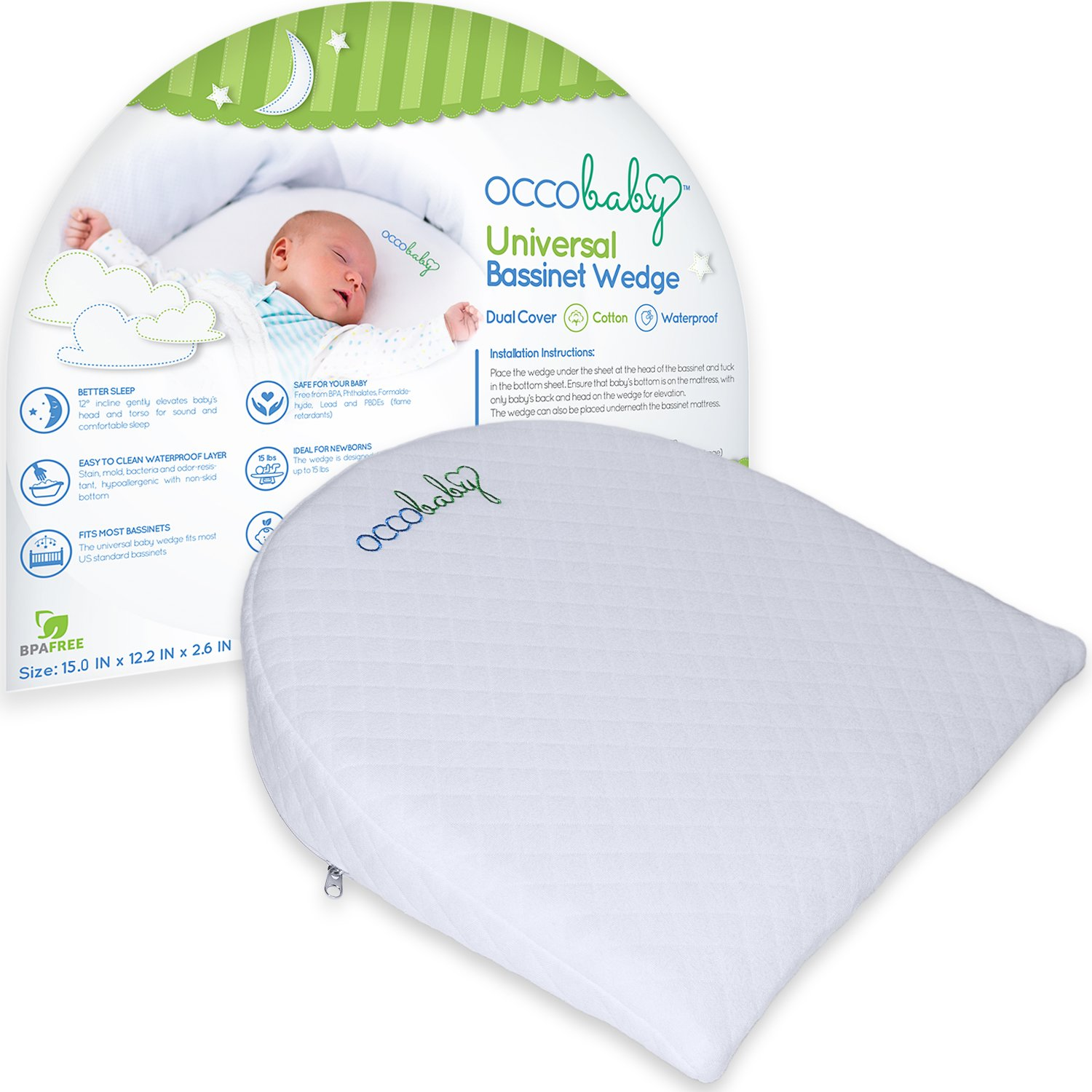 OCCObaby Universal Bassinet Wedge | Waterproof Layer & Handcrafted Cotton Removable Cover | 12-degree Incline for Better Night's Sleep universal???? OCCOwedgeSM