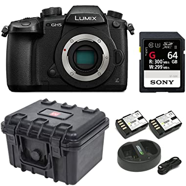 Panasonic GH5 Lumix 4K Mirrorless, 20.3 MP, Wi-Fi + Bluetooth,3.2  LCD w/Sony 64GB SF-G Series UHS-II & Hard Case Bundle