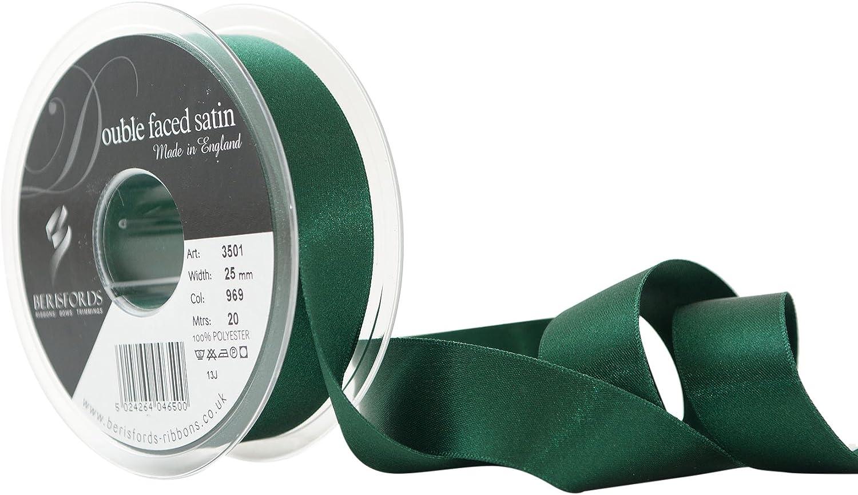 Waldgr/ün Berisfords Doppelseitiges Polyester-Satinband 25 mm