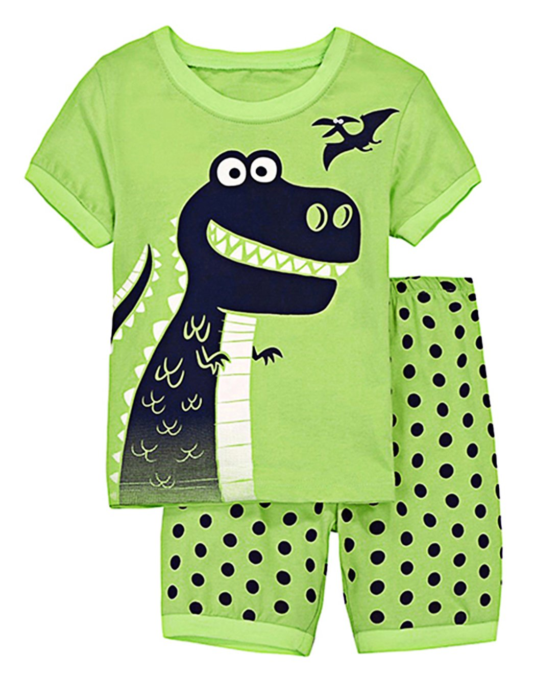 Tecrok Boys Summer Outfits Dinosaur Toddler Clothes Set Top Shirt + Shorts For Age 2-8 Years, Green, 4