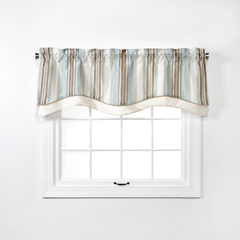 Renaissance Home Fashion MAXTON Layered Scalloped VALANCE with Cording, 52'' X 17'', Spa